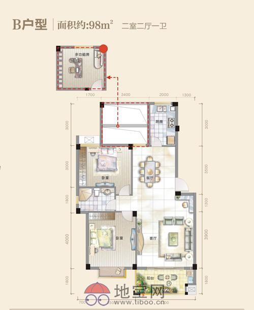 新建区望城新区风雅蓝山中装3房全带1200就出租_8