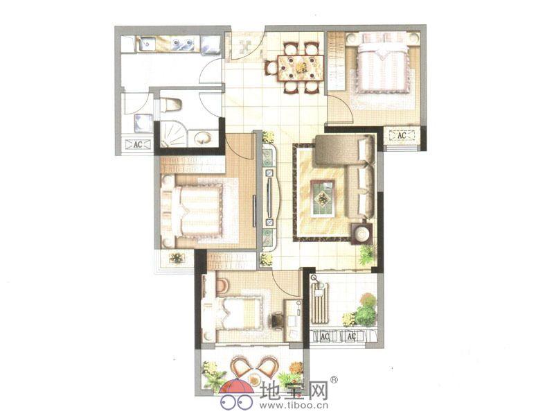 中央香榭一期高层5#v1楼户型图3室2厅1卫1厨